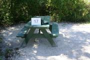 Campsite #17 at Blue Spring State Park showing picnic table.