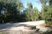 Campsite #20 at Blue Spring State Park showing fire ring, picnic table and RV pad.