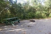 Campsite #24 at Blue Spring State Park showing picnic table and fire ring.
