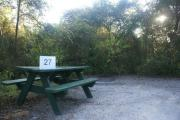 Campsite #27 at Blue Spring State Park showing picnic table.