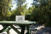 Campsite #28 at Blue Spring State Park showing picnic table.