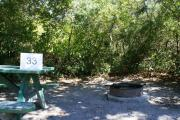 Campsite #33 at Blue Spring State Park showing picnic table and fire ring.
