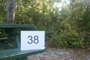 Campsite #38 at Blue Spring State Park showing number on picnic table.