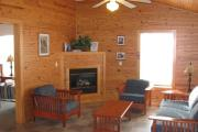 View of the living room with a vaulted ceiling, queen sized sleeper sofa, propane powered fire place and tables.