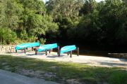 Little Manatee River State Park canoes waiting to be rented by visitors.