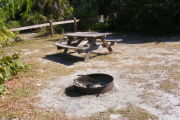 Each tent site has a fire ring and picnic table