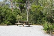 Picnic table in campsite.