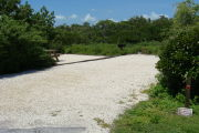 Photo: 005, View of gravel campsite with picnic table and grill, bushes in background.
