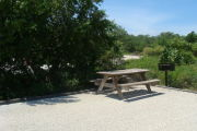 Photo: 010, View of gravel campsite with picnic table and grill, RV and bushes in background.