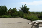 Photo: 022, View of gravel campsite with picnic table and grill, Atlantic Ocean and bushes in background.