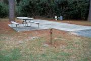 A view of RV site two at Topsail Hill Preserve State Park showing the site marker, picnic table, and utility hook up boxes.