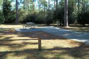 A view of RV site eight at Topsail Hill Preserve State Park showing the site marker, a picnic table next to the site to the left, and the utility hook up boxes to the right.