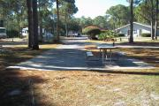 A view of RV site eight at Topsail Hill Preserve State Park looking towards the front of the site.  A picnic table is on a concrete pad to the right of the site.  The bathhouse and other RV sites are visible in the background.