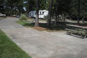 A view of RV site seventeen at Topsail Hill Preserve State Park looking across the site.  A picnic table is on a concrete pad next to the site with two pine trees growing next to it.  Other RV sites are visible in the background.