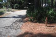 A view of RV site twenty-one at Topsail Hill Preserve State Park showing the site marker in front of a bunch of saw palmetto and a picnic table to the left of the site.