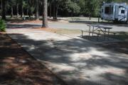 A view of RV site twenty-one at Topsail Hill Preserve State Park looking across the site.  A picnic table is on a concrete pad next to the site.  The site is partially shaded by pine trees.  Other RV sites are visible in the background.