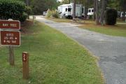 A view of RV site twenty-six at Topsail Hill Preserve State Park showing the site marker, a picnic table to the right of the site, and utility hook up box to the left of the site.