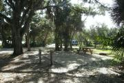 A large oak tree provides a bit of shade over the campsite.  The picnic table has partial shade.