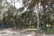 Campsite 32 is shaded with live oak trees and has an entrance with a wide clearance.